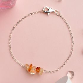 Minimalist Irregular Stones 925 Sterling Silver Chain Bracelet for Girls Gift Jewelry