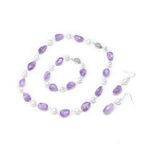 White Pearl and Amethyst Jewelry Set Earrings Bracelet Necklace