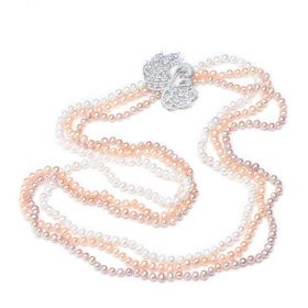 Couple Swan Multiplayer Freshwater Pearl Strands Necklaces