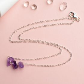 Chic 925 Sterling Silver Chain Necklace with Irregular Shape Amethyst for Girls Gift