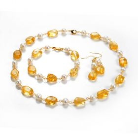 Stylish Citrine and Pearl Necklace,Bracelet,Earrings Set for Women