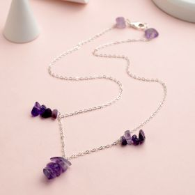 Romatic 925 Silver Sterling Necklace Jewelry with Colorful Amethyst Pendant Irregular Shape for Women Gifts