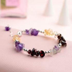 Exquisite Nugget Gemstone 925 Sterling Silver Bracelet Bangle for Women