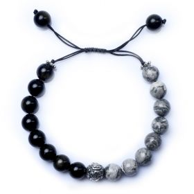 Handmade String Picasso Stone and Obsidian Chakra Bracelet with Antique Silver Bead 7 inch Adjustable