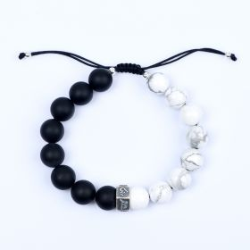 Black Frosted Stone Beads and White Turquoise Chakra Energy Bracelet Yoga Jewelry 7 inch Adjustable