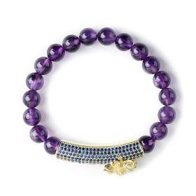 Beautiful Energy Power Amethyst 8mm Chakra Beads Reiki Healing Elastic Stretch Bracelet