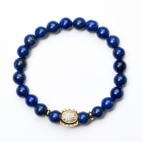 Healing Stones Lapis Lazuli Bracelet Yoga Chakra Mala Beads Bracelet for Anxiety Depression Stress Relief