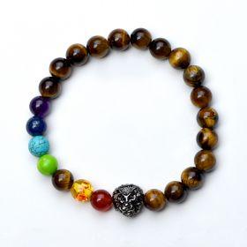 Tiger Eye 7 Chakra Beads Bracelet Healing Balance Beads Reiki Buddha Prayer Yoga Jewelry Lion Head