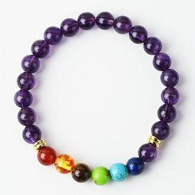 Seven Chakra Healing Balance Beaded Bracelet Amethyst Reiki Yoga Blessing Bracelet