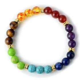 7 Chakra Stones Balancing Healing Beaded Bracelet Stretch Yoga Jewellery Buddha Prayer Pulseira