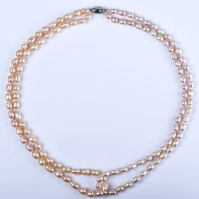 Luxury Women Double Strand Pink Rice Freshwater Pearl Crossed Necklace 21 inch 7-8mm