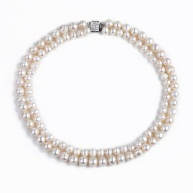 Luxury White Freshwater Pearl Beads Double Layer Strand Necklace Jewelry Gift for Women Girls 17-18 inch