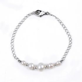 Simple Stylish 925 Silver Freshwater Pearl Bracelet for Girls 7 inch