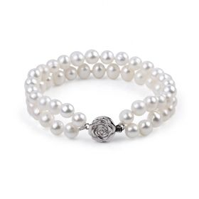 White Freshwater Pearl Double Strand Bracelet for Women 925 Silver Flower Clasp 7 inch