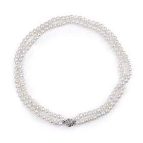 Freshwater Pearl Double Strand Necklace Princess Length for Women 18 inch 925 Silver Flower Clasp