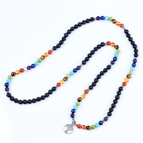 108 Healing Buddhist Prayer Beads 7 Chakra Yoga Meditation Mala Tree of Life Multilayer Bracelet Necklace