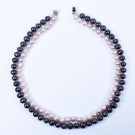 Classic Double Strand Pearl Necklace 7-8 mm Black and Pink Freshwater Cultured Pearls