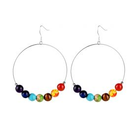 Large Hoop 7 Chakra Stone Earrings Women Loop Circle Drop Dangle Fashion Jewelry for Girls