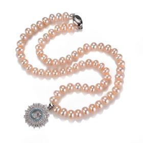 7-8mm Off Round Freshwater Cultured Pearl Beaded Single Strand Necklace with Shiny S Pendant