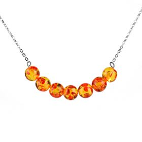 Round Synthetic Amber Bead Bar Necklace 18 inch Chakra Stone Necklace
