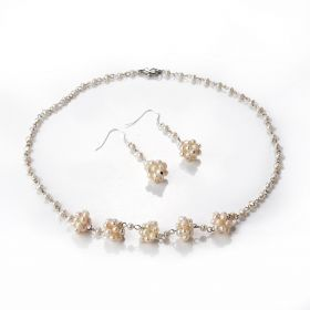 Charming 3-4mm Freshwater Pearl Necklace and Earrings Jewelry Set for Women