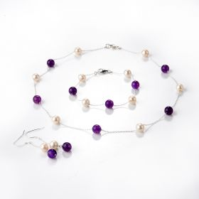 Freshwater Pearl and Purple Dragon Veins Agate Stone Beads Tin Cup Necklace Bracelet Earring 3 Jewelry set