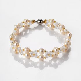 Stylish Freshwater Pearl and Clear Crystal Bracelet Bangle For Women Jewelry Accessories