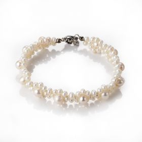 Unique Handmade Freshwater Pearl Flower Bracelet Bangle for Women Party/Wedding