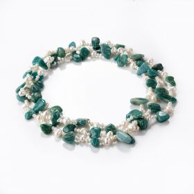 White Freshwater Pearl and Green Amazonite Beads Charming Jewelry Long Strand Necklace 48 inch