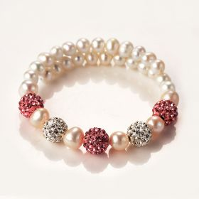 Fashion Pearl Adjustable Bracelet with Shiny Crystal Balls for Women Girls