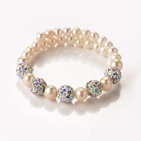 Shining Pearl Bracelet Jewelry Pave AB Color Crystal Balls Memory Wire Adjustable