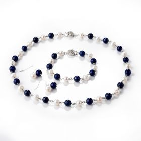 Female Fashion Freshwater Pearl and Lapis Lazuli Necklace Bracelet Earring Jewelry Set