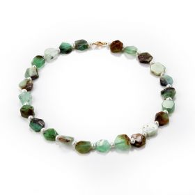Irregular Flat Chrysoprase Stone Beaded Necklace 18 Inch with Small White Freshwater Pearl Beads