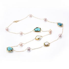 Freshwater Pearl Baroque Turquoise Beads Chain Tin Cup Necklace Jewelry Gifts for Women