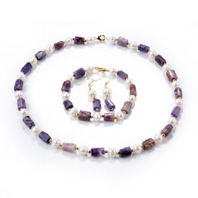 Charoite Purple Gemstone White Pearls Beaded Necklace Bracelet Earring Charms Jewelry Set