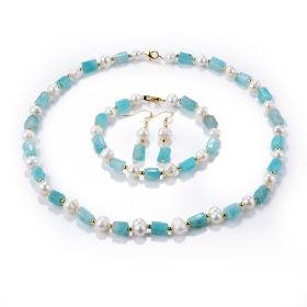 White Pearls and Amazonite Column Beads Jewelry Set Necklace Bracelet Earring