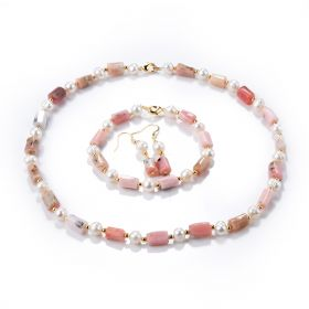 Pink Opal and White Pearl Beaded Women's Jewelry Set Necklace Bracelet and Earring