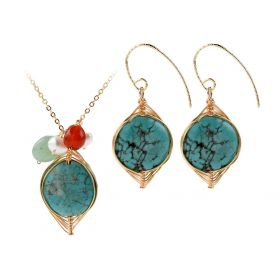 Flat Turquoise Pendant Gold Plated Brass Chain Necklace matching with Drop Earring