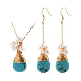Teardrop Turquoise and Pearl Beads Cluster Drop Pendant Chain Necklace Earrings Set