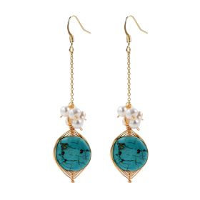 Flat Turquoise and Pearl Beads Cluster Drop Long Chain Dangle Earrings