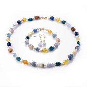 Multi Gemstone Jewelry Set Colorful Gemstone Pearl Necklace Bracelet Earring Set