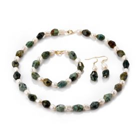 Faceted African Turquoise Stone and Freshwater Pearl Beaded Necklace Bracelet and Drop Earrings