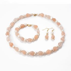 Faceted Pink Aventurine Stone and White Freshwater Pearl Beaded Necklace Bracelet Drop Earrings Jewellery Set