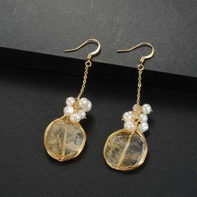 Chic Boho Handmade Citrine and Pearl Drop Dangle Earrings for Women Girls