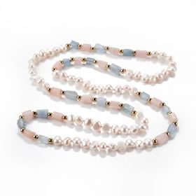 Freshwater Pearl, Morganite, Rose Quartz Gemstone Beaded Necklace Jewelry