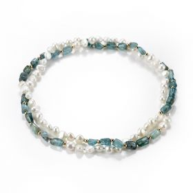 Stylish White Freshwater Pearl Green Apatite Beaded Necklace No Clasp