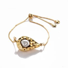 Unique Baroque Shape Freshwater Pearl Bracelet Gold Plated Brass Adjustable Chain