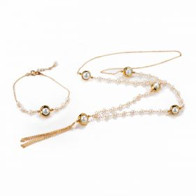 New Design Freshwater Pearl Chain Necklace with Tassel and Bracelet Jewelry Set