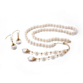Freshwater Pearl Strand Necklace with Extender Chain and Flat Baroque Pearl Drop Dangle Earrings Set