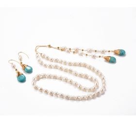 Freshwater Pearl Necklace with Teardrop Turquoise Pendant Tail Chain and Drop Dangle Earrings Jewelry Set